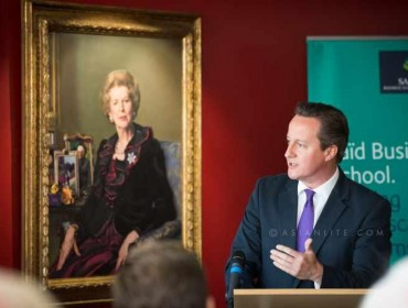 Prime Minister David Cameron speaks after unveiling the  portrait of  Baroness Thatcher at Saïd Business School in Oxford