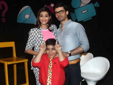 Actress Sonam Kapoor and Pakistani actor Fawad Khan with Sadhil Kapoor on sets of Disney Show Captain Tiao, during the promotion of their upcoming film Khoobsurat in Mumbai, on Aug. 24, 2014. (Photo: IANS)