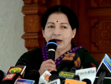 Tamil Nadu Chief Minister and AIADMK Supremo J Jayalalithaa addresses a press conference in Chennai on May 16, 2014. (Photo: IANS)