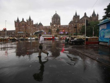 A view of CST during rains in Mumbai.