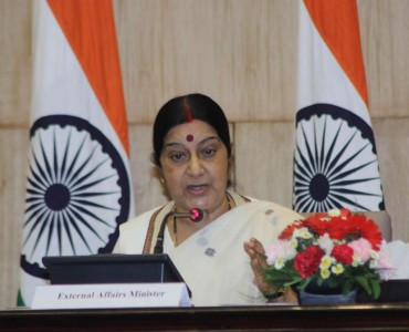 External Affairs Minister Sushma Swaraj addresses at the launch of `Fast Track Diplomacy` - a book in New Delhi on Sept 8, 2014. (Photo: IANS)