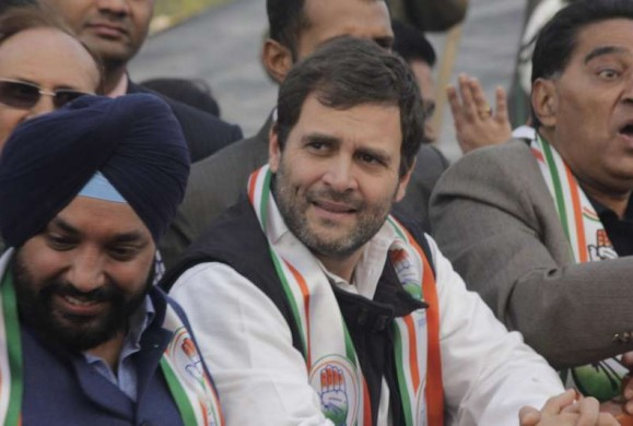 Congress vice president Rahul Gandhi with Delhi Congress chief Arvinder Singh Lovely, senior leader Ajay Maken and other leaders during election campaign rally in New Delhi on Jan. 27, 2015