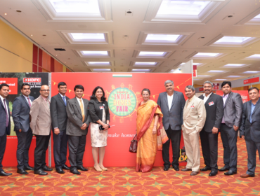 Mrs Renu Sood Karnad, MD, HDFC, with her team during the 8th Annual India Homes Show in London (File)