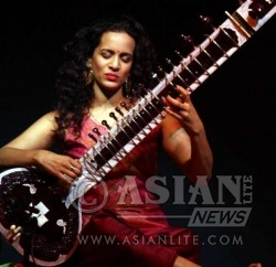 International Classical Sitar player and composer Anoushka Shankar performs during a music concert