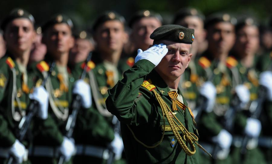 Soldiers participate in the Victory Day Parade marking the 69th anniversary of the defeat of Nazi Germany in WWII, in Moscow's Red Square