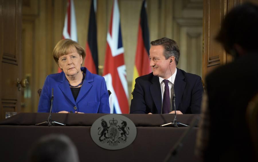 British Prime Minister David Cameron with German Chancellor Angela Merkel