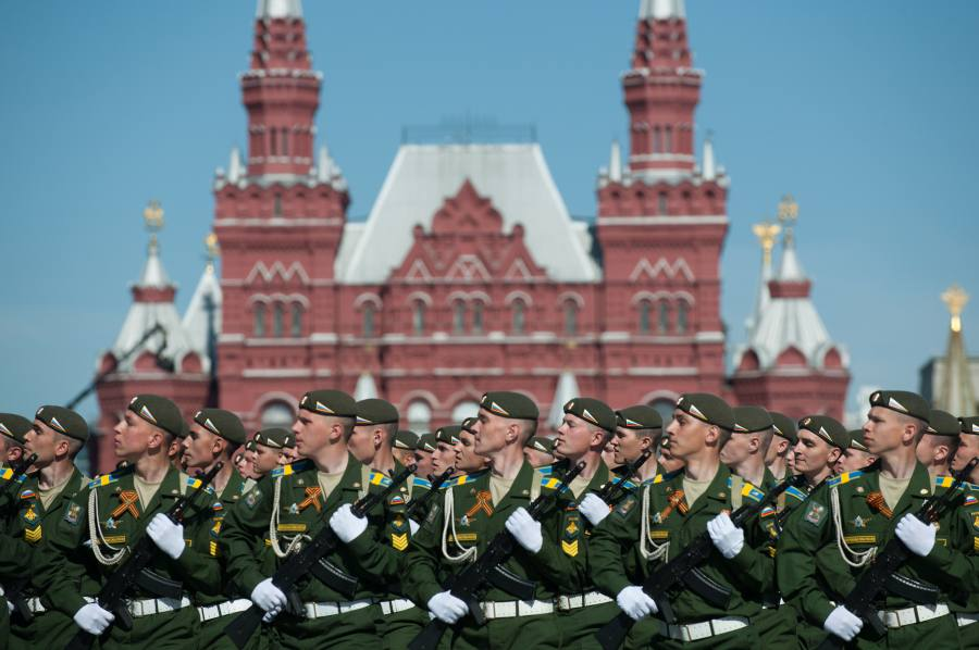 Soldiers participate in the Victory Day Parade marking the 69th anniversary of the defeat of Nazi Germany in WWII, in Moscow's Red Square May 9, 2014. Russian President Vladimir Putin said Friday the Victory Day is a symbol of Russian people's triumph against Nazism, and May 9 will always be the country's biggest holiday.
