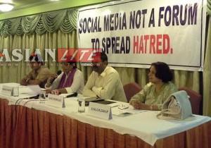 SOCIAL NETWORK MONITORING GROUP - From left to right Rohan Govenkar, Meenackshi Martins, Savio Rodrigues and Sunila Muzawar