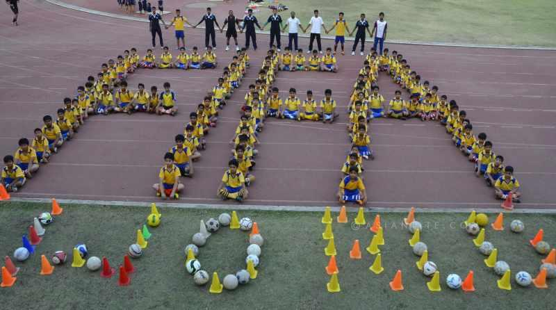 Football fans create a decoration FIFA World Cup 2014 during World largest sports championship FIFA world cup in Bhopal