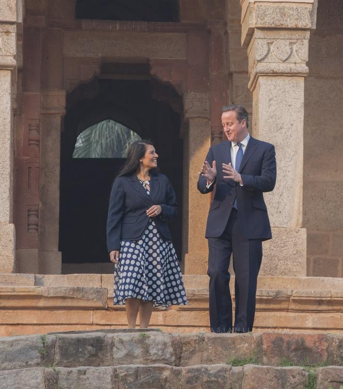British Prime Minister David Cameron with Priti Patel MP, Indian Diaspora Champion and Minister of State for Employment at the Department for Work and Pensions