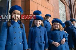 Students of St.James Junior School in Stockport. The  school teaches practical philosophy, from both western and eastern traditions, including the teachings of the 'Bhagavad Gita' along with Sanskrit and Vedic mathematics. And, the teachers are British.