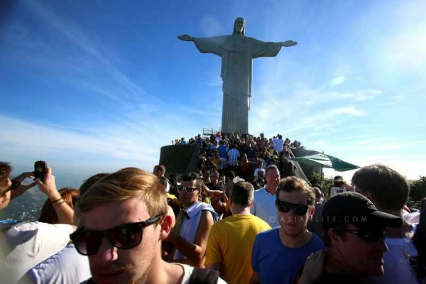 People visit the statue of Jesus Christ in Rio de Janeiro, Brazil