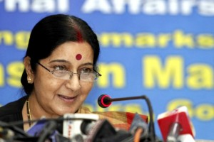 External Affairs Minister Sushma Swaraj addresses during a programme in Dhaka, Bangladesh on June 26, 2014. (Photo: bdnews24/IANS)