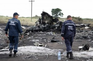 Rescuers work at the crash site of MH17 of Malaysian Airlines near the city of Shakhtarsk in Ukraine's Donetsk region, July 18, 2014. Malaysian Transport Minister Liow Tiong Lai said Friday that according to the International Civil Aviation Organization's Annex 13, the Ukrainian government should institute an investigation into the circumstances of the deadly MH17 incident, and be responsible for the conduct of the investigation.