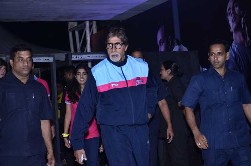 Amitabh Bachchan during the Pro-Kabaddi League between U Mumba vs Jaipur Pink Panthers in Mumbai on 27, July 2014. (Photo: IANS)