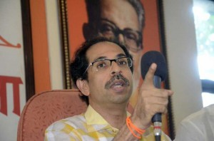 Shiv Sena chief Uddhav Thackeray addresses a press conference in Mumbai on July 14, 2014. (Photo: Sandeep Mahankal/IANS)
