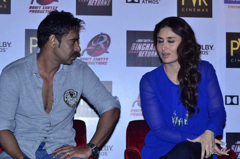 Actors Ajay Devgan, Kareena Kapoor during the launch of film Singham Returns in Mumbai on 30 July 2014. (Photo: IANS)