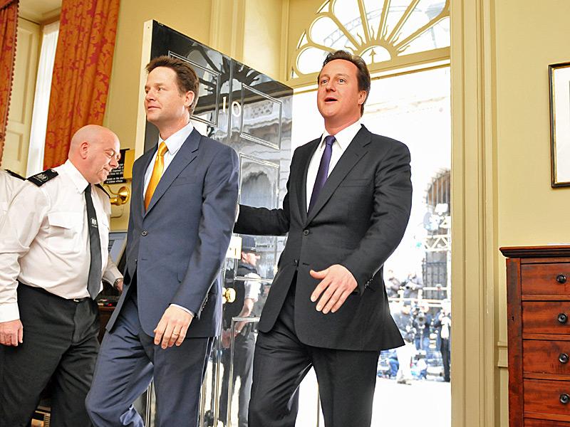 Deputy Prime Minister Nick Clegg with Prime Minister David Cameron
