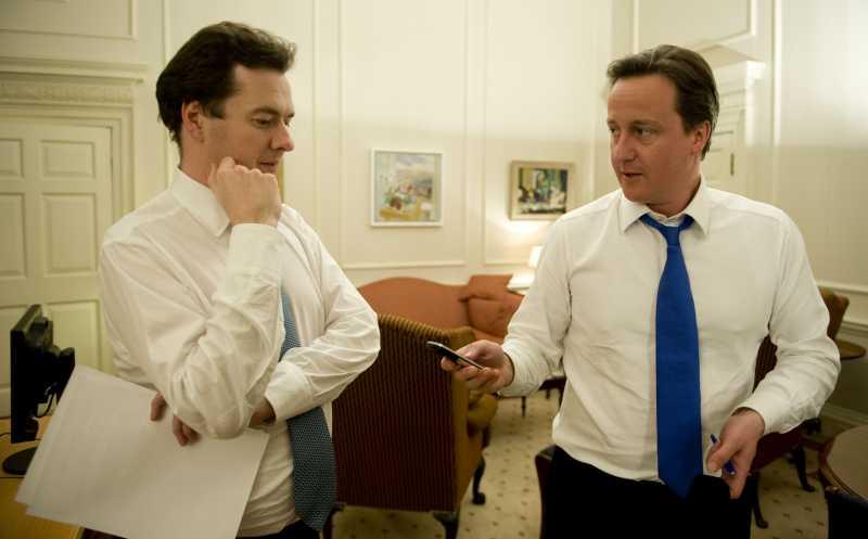 British Prime Minister David Cameron with Chancellor George Osborne