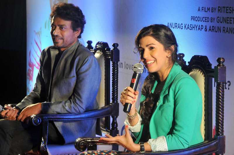 Bollywood actors Irrfan khan and Nimrat Kaur addressing press conference