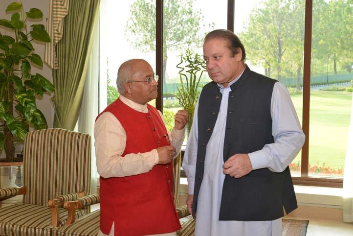 Pakistan Prime Minister Nawaz Sharif during a meeting with Chairman of Council for Indian foreign Policy and and former editor of Press Trust of India Dr V P Vaidik at Prime Minister's House in Islamabad, Pakistan on July 2, 2014.