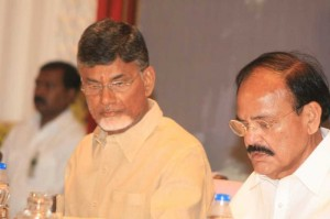 Union Minister for Urban Development, Housing and Urban Poverty Alleviation and Parliamentary Affairs M. Venkaiah Naidu with Andhra Pradesh Chief Minister N. Chandrababu Naidu during orientation programme of Andhra legislators in Hyderabad on July 18, 2014. (Photo: IANS)