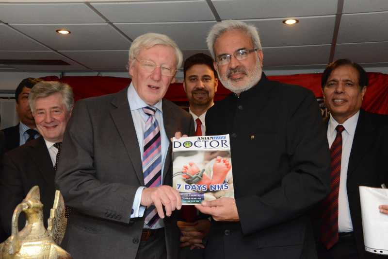 Prof Rajan Madhok with Mr Peter W Mount, chairman of the Central Manchester Foundation Trust, Tony Lloyd, Manchester Police Commissioner  and Dr Kailash Chand MBE during an event organised by Asian Lite