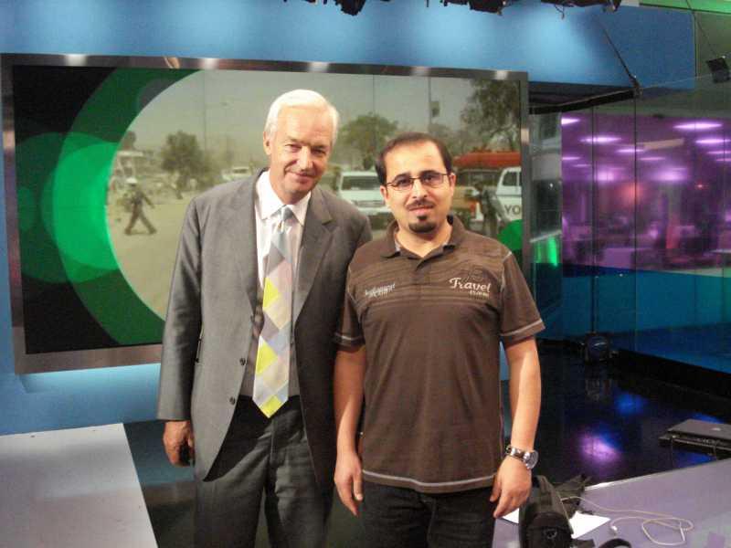 Al Jazeera journalist Yousuf Al Shrouf with famed news anchor Jon Snow