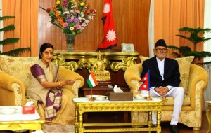 India's Minister for External Affairs Sushma Swaraj meets with Nepalese Prime Minister Sushil Koirala during her visit for the 3rd Nepal-India Joint Commission meeting in Kathmandu.