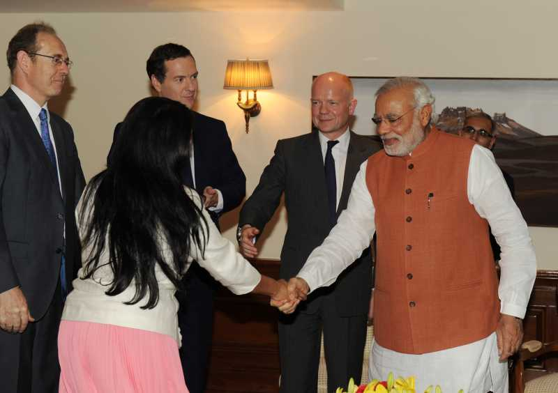 Priti with Indian Prime Minister Narendra Modi