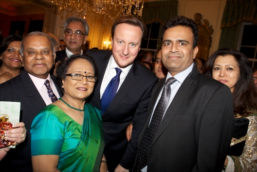Prime Minister David Cameron with the media during a Diwali event at No 10