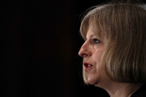 Britain's Home Secretary Theresa May delivers her speech on police reform, in central London