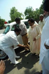 Bahujan Samaj Party (BSP) supremo Mayawati arrives at the Parliament in New Delhi on Aug 12, 2014. (Photo: IANS)