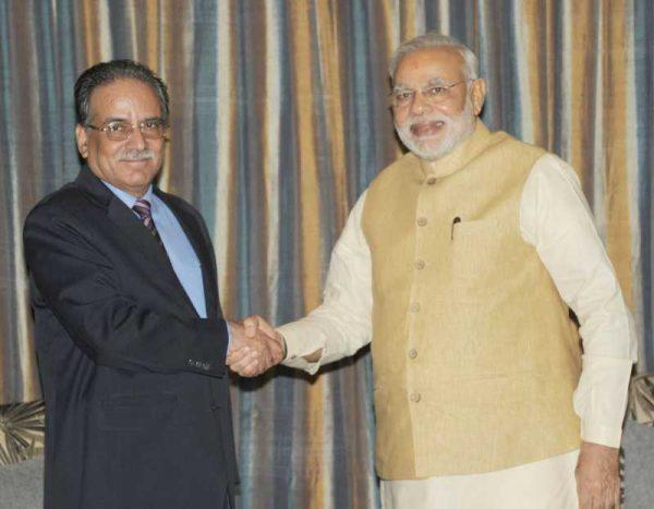 Prime Minister Narendra Modi during a meeting with UCPN(M) chairman Pushpa Kamal Dahal Prachanda in Kathmandu, Nepal on August 04, 2014. (Photo: IANS/PIB)