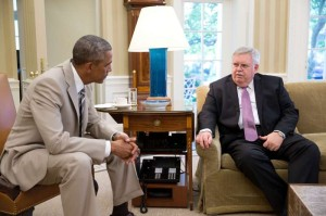 President Barack Obama meets with John F. Tefft, U.S. Ambassador to Russia, in the Oval Office