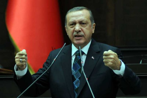 Turkish Prime Minister Recep Tayyip Erdogan gives a speech at the parliamentary group meeting of the ruling Justice and Development Party, in Ankara, Turkey