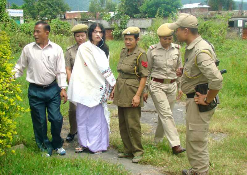 Irom Chanu Sharmila condemned the act of threatening scribes and the distributors and called it as a vested interest of pseudo-revolutionaries while talking the media as she came out of the Court where she was produced in Imphal