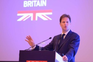 Deputy Prime Minister of United Kingdom Nick Clegg addresses during the 'UK - INDIA : Business is Great' conference in New Delhi on Aug 25, 2014. (Photo: IANS)