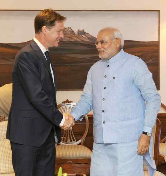 The UK Deputy Prime Minister, Mr. Nick Clegg calls on the Prime Minister, Shri Narendra Modi, in New Delhi on August 25, 2014.