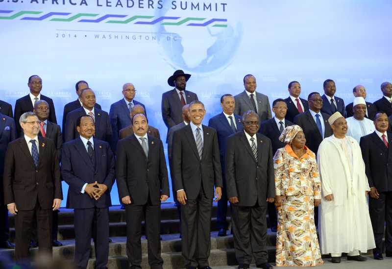 - U.S. President Barack Obama (4th L) poses for a family photo with leaders of African countries during the U.S.-Africa Leaders Summit in Washington D.C., the United States, Aug. 6, 2014.