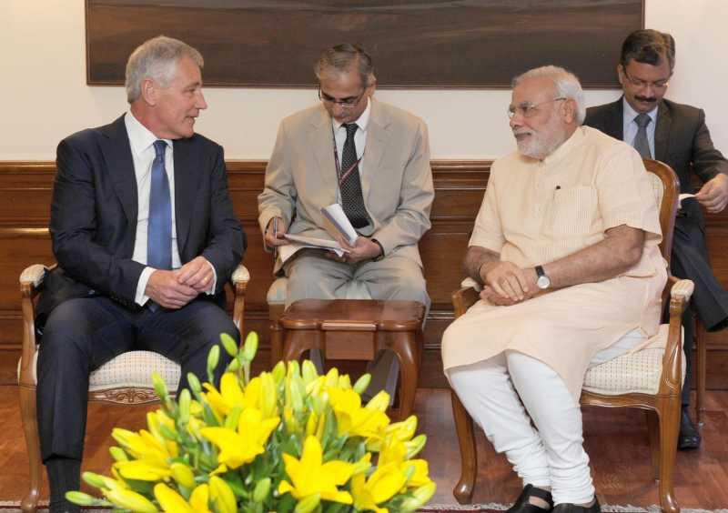 US Defence Secretary, Chuck Hagel calls on Prime Minister Narendra Modi in New Delhi on August 08, 2014. (Photo: IANS/PIB)