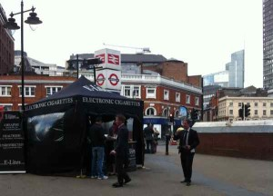 E-cigarette promotion near Victoria Station in London Phot - Ash