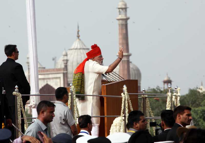 Prime Minister Narendra Modi addresses the nation after hoisting the national flag on 68th Independence Day from the ramparts of Red Fort, in Delhi on August 15