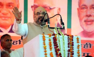 BJP chief Amit Shah addresses during Vijay Sankalp Rally in Haryana's Mahendergarh on Aug 14, 2014. (Photo: IANS)