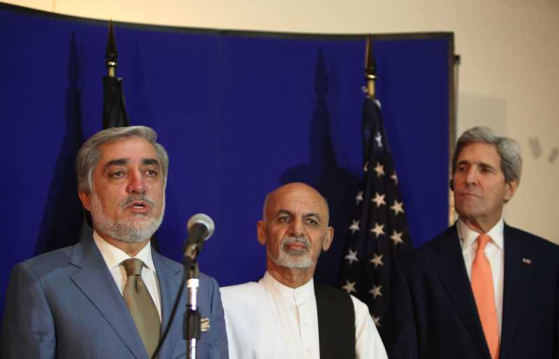 Afghan presidential candidate Abdullah Abdullah speaks during a joint press conference in Kabul
