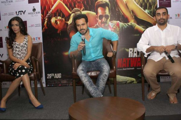 Actors Emraan Hashmi and Humaima Malik during a press conference to promote their upcoming film Raja Natwarlal in New Delhi