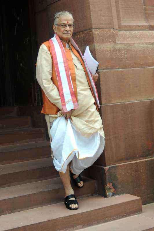BJP leader and Kanpur MP Murli Manohar Joshi comes out of the Parliament