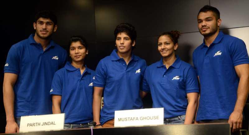 Athletes Avtar Singh (judoka), Zareen Nikhat (boxer), Garima Chaudhary (judoka), Geeta Phogat (wrestler) and Vikas Krishan Yadav (Boxer) during a press conference in Mumbai