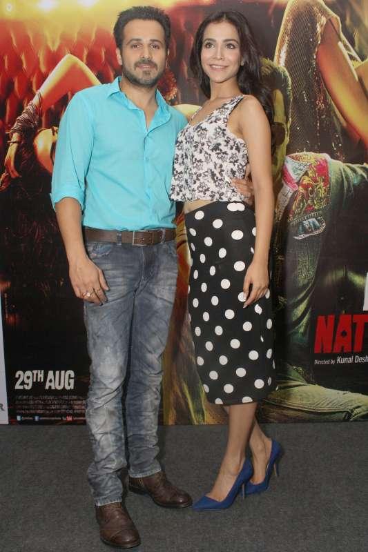 Actors Emraan Hashmi and Humaima Malik during a press conference to promote their upcoming film Raja Natwarlal in New Delhi on Aug 28, 2014. (Photo: Amlan Paliwal/IANS)