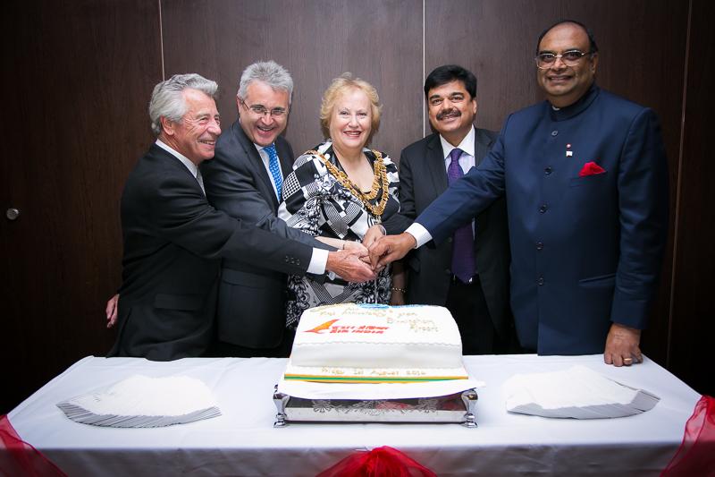 Mr Pankaj Srivastava, Commercial Director- Air India, with Birmingham Airport CEO Pual Kehoe, Lord Lieutenant Paul Sabapathy, Solihull Mayor Kate Wild
